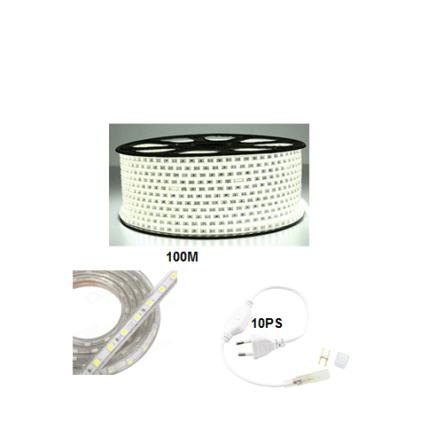 Rouleau tube light (guirlande) 100 mètre +10 fiche couleur blanc