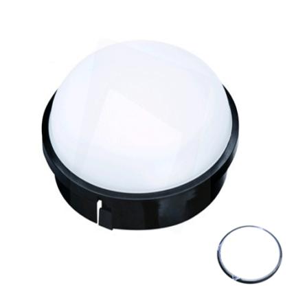 Applique murale/plafond LED rond noir IP54 20W Lumière blanche (7000k)