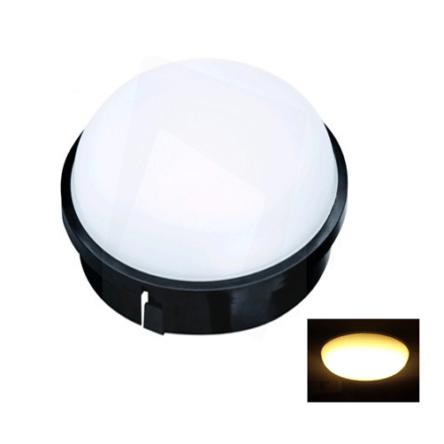 Applique murale/plafond LED rond noir IP54 20W Lumière Jaune (3000k)