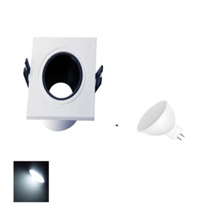 Spot Encastrable Blanc & Noir Carré + Lampes MR16 LED Lumière Blanche (6500K)