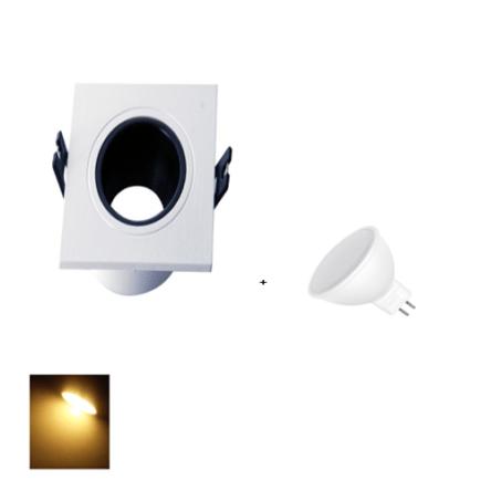 Spot Encastrable Blanc & Noir Carré + Lampes MR16 LED Lumière Jaune (3000K)