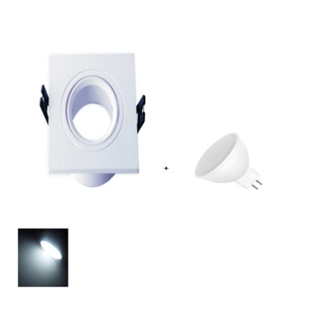 Spot Encastrable Blanc Carré + Lampes MR16 LED Lumière Blanche (6500K)