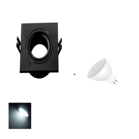Spot Encastrable Noir Carré + Lampes MR16 LED Lumière Blanche (6500K) (Copie)