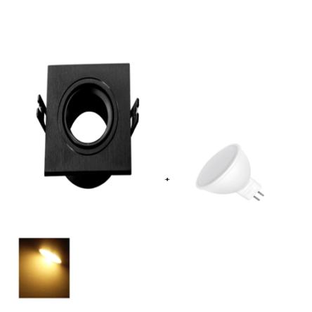 Spot Encastrable Noir Carré + Lampes MR16 LED Lumière Jaune (3000K)