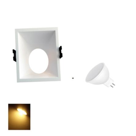 Spot Encastrable Blanc Carré + Lampes MR16 LED Lumière Jaune (3000K)