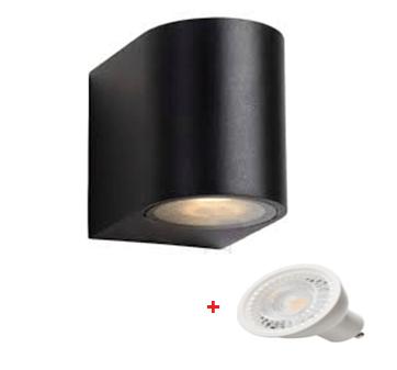 Applique murale étanche noir 1 faisceau, extérieur avec une lampe led GU10 5w